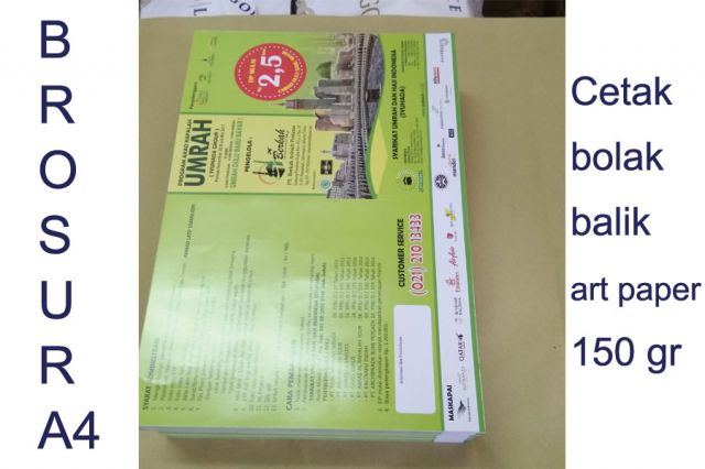Cetak Brosur ukr A4 Bahan Art Paper 150 gram Murah